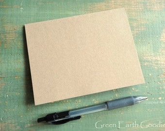 "A1 Kraft Folded Cards, Kraft Note Cards, Blank Cards, Recycled Cards, 3 1/2"" x 4 7/8"" (89 x 124mm) or 3.5""x 5"", cards only, Set of 25"