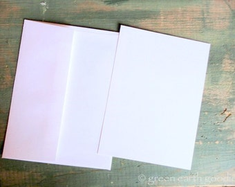 "25 A1 FLAT Cards & Envelopes: Recycled 3 1/2"" x 4 7/8"" (89 x 124 mm) flat card and A1 envelope, white, bright white, natural white or ivory"