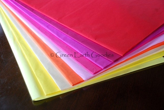 40 sheets Recycled Color Tissue paper - Red, Orange, Yellow Hues - 20x26