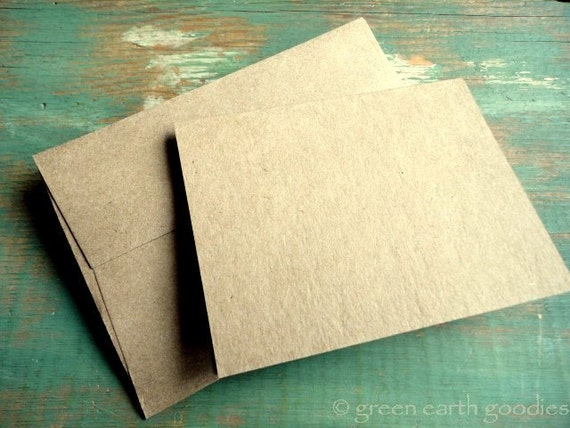 "100 Folded Mini Cards and Envelopes - Kraft Grocery Bag  3.25"" x 4.25"" and A1, eco-friendly and recycled"
