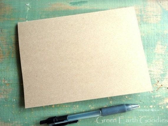 "50 A7 Blank Cards: Folded Kraft Cards only, Rustic Brown Cards, Recycled & Eco-Friendly, 5 1/8"" x 7"" or 5x7 - 80lb, 100lb or 105lb brown"