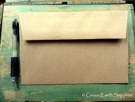 "25 A9 Kraft Envelopes: eco-friendly envelopes, recycled A9 envelopes, kraft brown, large rustic envelopes, 5 3/4"" x 8 3/4"" (146 x 222 mm)"