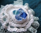 winter blossom - big handmade crochet ring with sky blue lace