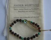 For mum DESIGNER BALTIC AMBER bracelet with birthstone Turquoise