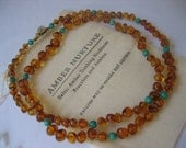 Mothers Nursing Baltic Amber Necklace with Turquoise
