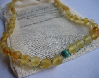Raw Amber, Birthstone, Baby, Light Gold, Pretty, Turquoise for December Babies, Organic Cotton Pouch, Amber Nurture.