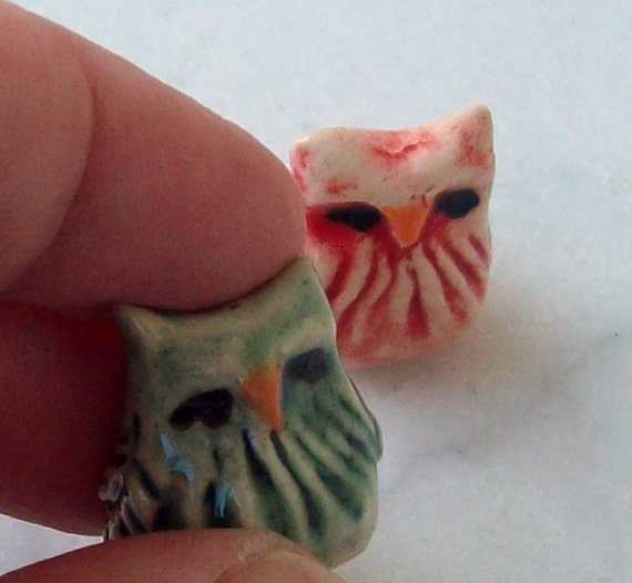 Tiny Hand Made Owl Miniature Figurines
