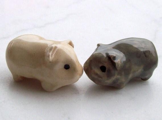Guinea Pig Miniature Handmade Terrarium Figurine Couple