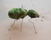 Beetle soft sculpture. Leafy design.
