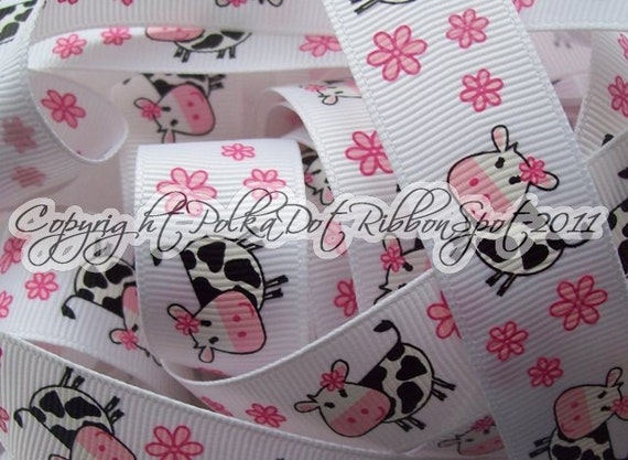 7/8  inch SILLY COW printed grosgrain ribbon 5 yards