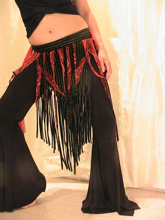 ATS Tribal bellydance skirt, panel skirt , apron in black with fringe, silver stripes and red shimmery brocade
