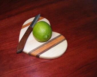 Mini Heart Shaped Cutting Board. Trivet. Maple or Cherry.  Teacher Valentine Gift. Free Shipping