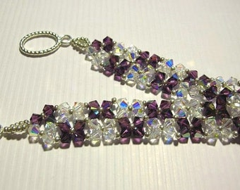 Purple Crystal Bracelet - Swarovski Elements and Seed Beads