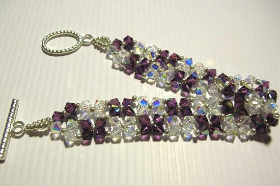 Purple Crystal Bracelet - Swarovski Elements and Seed Beads