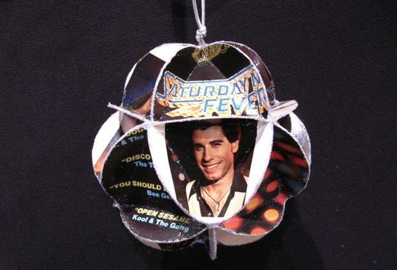 Saturday Night Fever Album Cover Ornament Made Of Record Jackets: John Travolta, Bee Gees