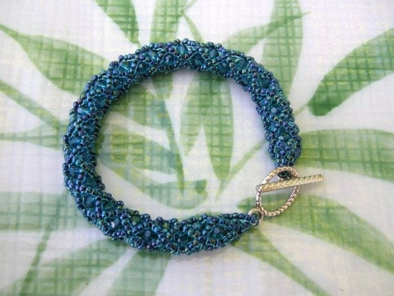 Blue Crystal Bracelet Woven Beads - X and O Rope Pattern