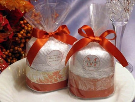 Wedding Gift Cake: Personalized AUTUMN FALL Wedding Towel Cake Favors By