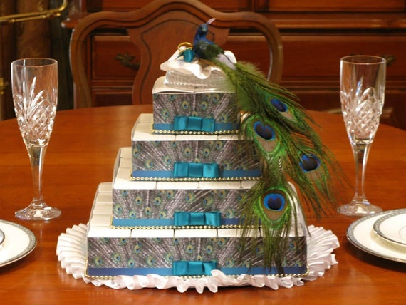 PEACOCK Wedding Favor Boxes Centerpiece Bridal By Shadow090109
