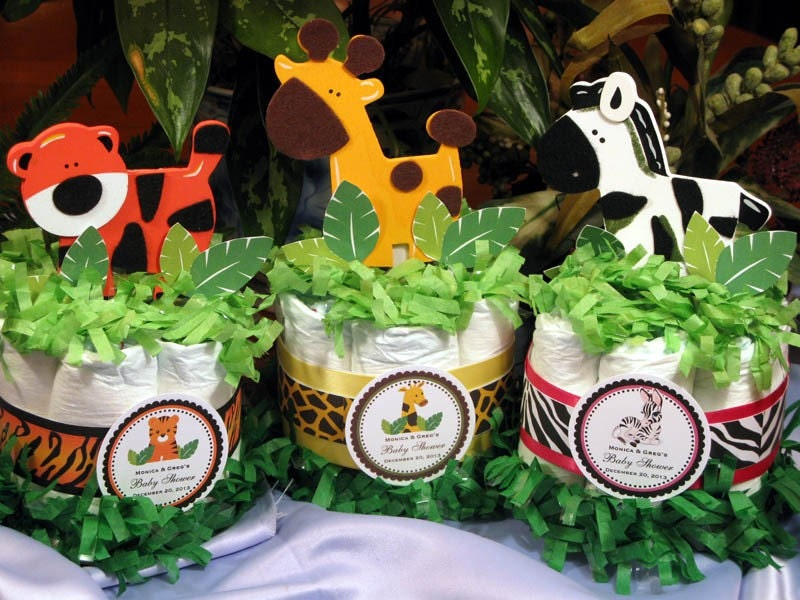 jungle safari baby shower diaper cake centerpieces by shadow090109