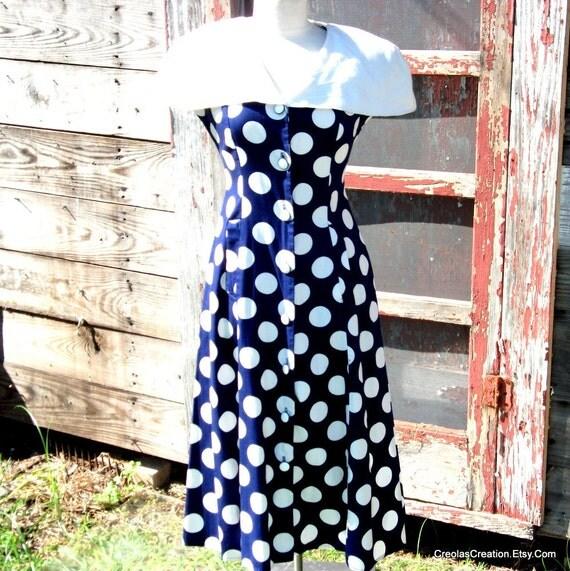 1960's LUCILLE BALL Look  Polka Dot   White Collar Dress Sz 8-10