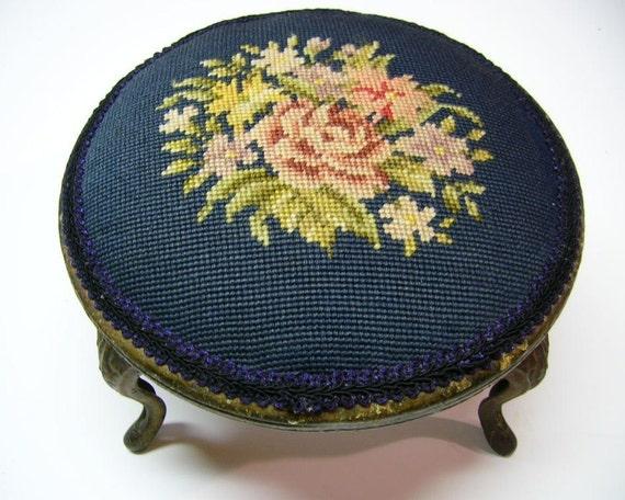 Reserved for Debbie - Vintage Victorian Needlepoint Footstool