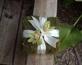 Moss Ring Bearer Pillow with celadon orchid flower