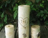 """LARGE  Birch Bark Unity Candle Personalized 10"""" Tall with Two 4"""" Tall Birch Candle Holders Rustic Wedding"""