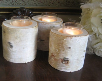 """25 Beautiful Birch Bark VOTIVE CANDLE HOLDERS   3"""" Tall Wedding Centerpieces, Bridal Showers, Garden Party"""