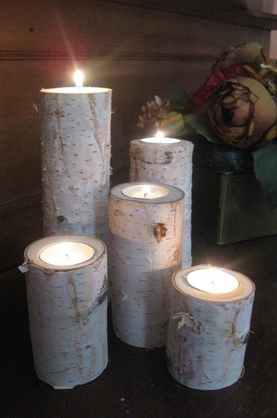 Large birch bark log tea light candle holders set of 5 for Log candles diy