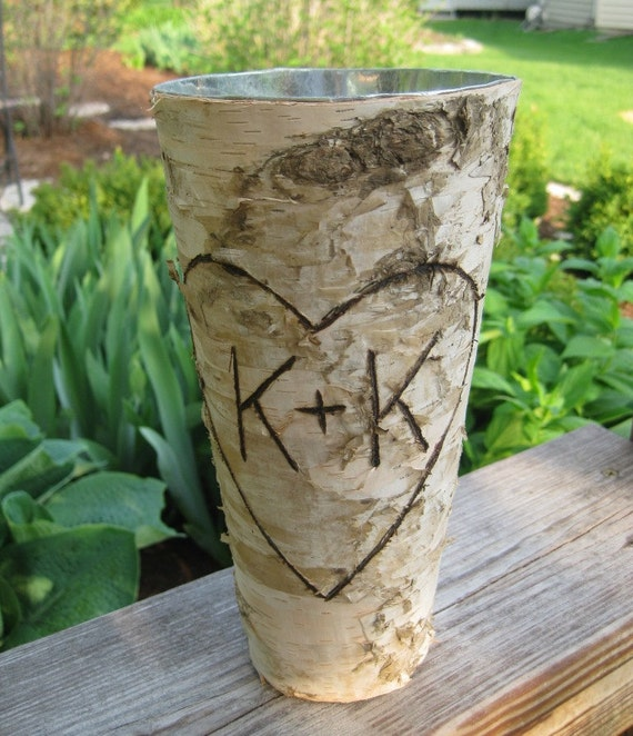 Personalized Birch Bark Vase for WEDDING CENTERPIECES or BOUQUET Home Decor Valentine