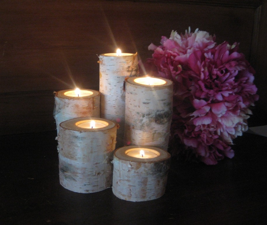 Custom wedding accessories birch bark log tea light