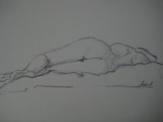"Original Unframed Nude Study - 8.1"" x 11.1"""