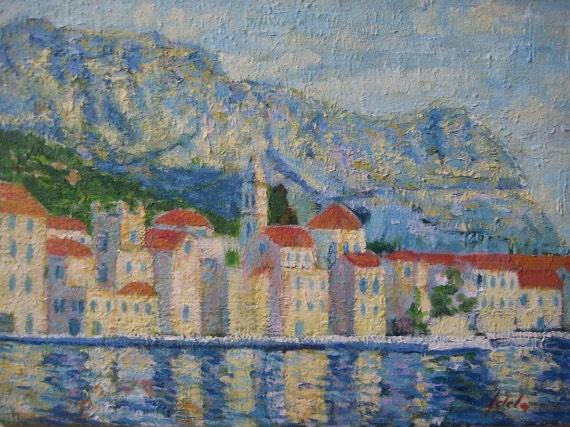 "Original, Mediterranean oil painting, 14"" x 10"""