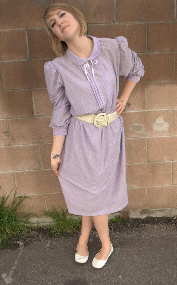 vintage secretary dress, 70's / 80's lilac tiny polka dot librarian dress SALE