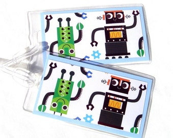 Robot luggage tags, kids id tags, set of 2 robot travel tags, green, red and blue backpack tags, luggage identification tags in vinyl cases