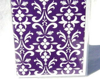 Purple and white damask passport wallet passport cover id holder travel wallet in vinyl case travel accessory