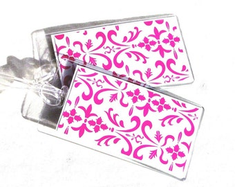 Hot pink and white damask luggage id tags, women's luggage tags, set of 2 travel tags, gift for her, luggage accessory, identification tags
