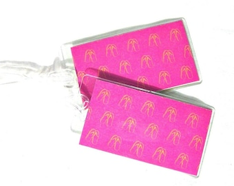 Flip flop luggage id tags, hot pink travel tags, women's travel tags, tropical suitcase tags, set of 2 beach travel accessory
