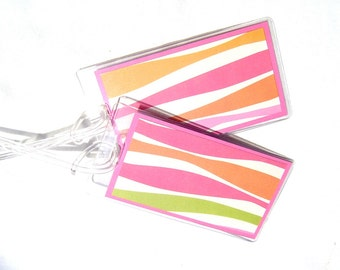 Striped luggage tags, pink lime and orange travel tags, set of 2 suitcase tags, identification tags with stripes, women's bag tags