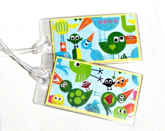 Bird luggage id tags, green and yellow suitcase tags, kid's id tags, backpack tags, travel tags, baby id tags, luggage accessory