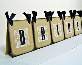 Bridal shower centerpiece, bride to be decor, bride centerpiece, vintage inspired bride sign, table tent, bachelorette decor, dual sided