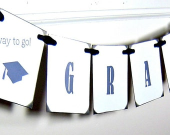 Graduation garland, vintage inspired black and white grad banner, 2015 graduation sign with cap and tassel, party decor (Made to order)