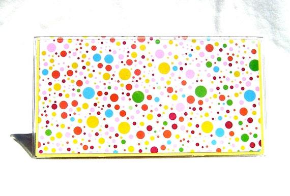 Checkbook cover polka dot multicolored in vinyl