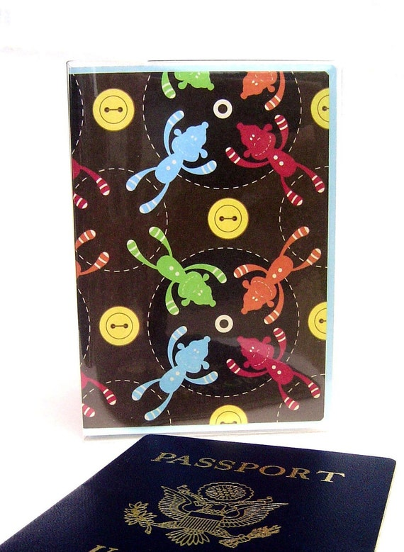 Passport cover monkeys kids buttons multicolored in vinyl case