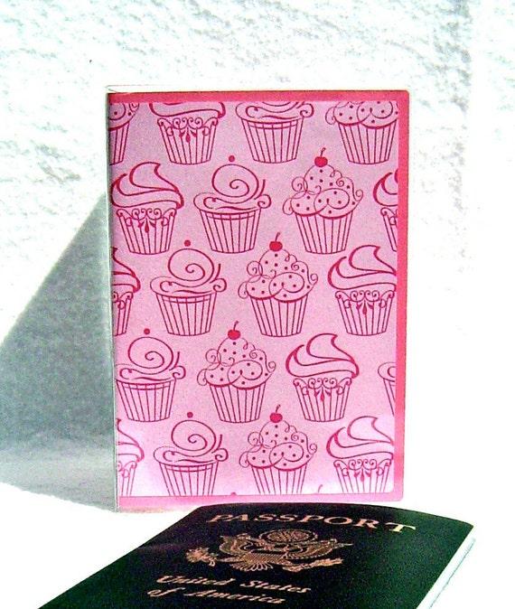 Cupcake passport holder pink in vinyl cover