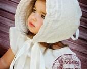 Childrens Heirloom Adjustable Knot Bonnet in Ivory