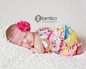 Girls Pink Blue Yellow and White Floral Fabric Ruffle Romper (newborn to size 6)