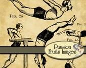 Vintage Acrobatics .PNG files  25 Digital Image Set and Photoshop .ABR file