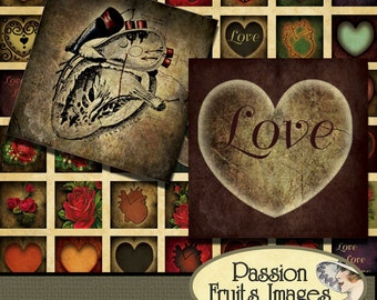 Gothic Valentine Scrabble Tiles Digital Collage Sheet-- Instant Download