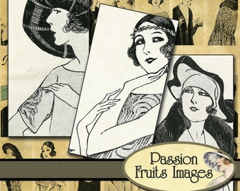 Bold 20's Ladies Domino Size Collage Sheet-- Instant Download